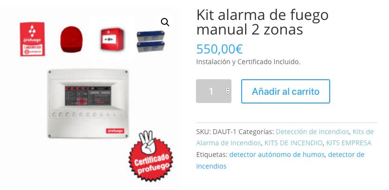 Kit Alarma de fuego Talleres mecanicos